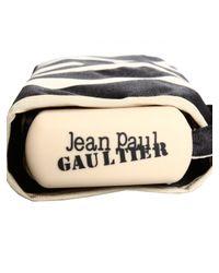 Jean Paul Gaultier Striped Folding Umbrella Blackcream