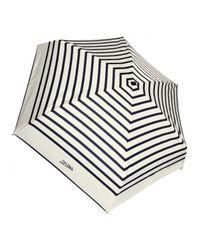 Jean Paul Gaultier Natural Striped Folding Umbrella Creamnavy