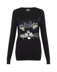 Markus Lupfer Black Cat Sequin Jumper
