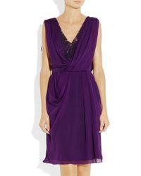 Matthew Williamson | Purple Embellished Lace and Draped Silk Chiffon Dress | Lyst
