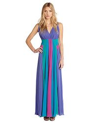 Nicole Miller Blue Georgette Multi Color Gown