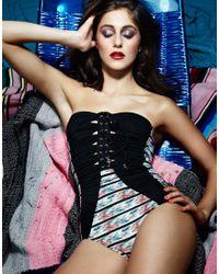 Seventh Wonderland Black Mirella Lace Up Strapless One Piece Suit