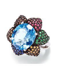 Swarovski - Gold-tone Blue And Metallic Crystal Statement Ring - Lyst