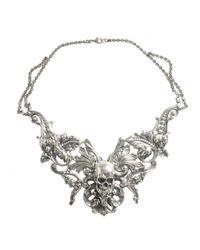 Tom Binns | Metallic Rococo Skull Necklace Silver | Lyst