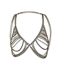 TOPSHOP - Metallic Chain Bra Necklace - Lyst