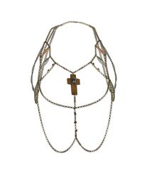 TOPSHOP - Metallic Wood Cross Body Cover Necklace - Lyst