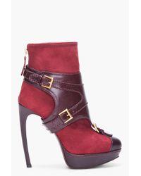Alexander McQueen | Red Oxblood Stirrup Buckle Boot | Lyst