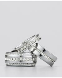 Ann Taylor - Metallic Stacked Pave Enamel Ring Set - Lyst