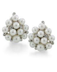 Brooks Brothers | White Sterling Silver and Glass Pearl Cluster Earrings | Lyst
