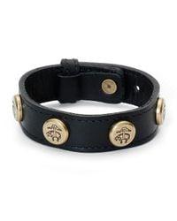 Brooks Brothers | Black Leather Bracelet with Golden Fleece Rivets | Lyst