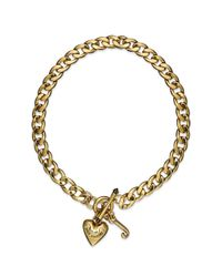 Juicy Couture | Metallic Gold Tone Heart Charm Starter Collar Necklace | Lyst