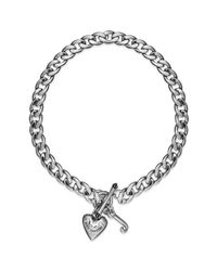 Juicy Couture - Metallic Stainless Steel Heart Charm Starter Collar Necklace - Lyst