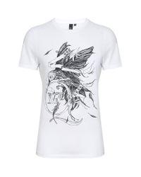 McQ White Pen Bird Tshirt for men
