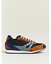 Balenciaga Brown Mens Contrast Fabric Trainers for men