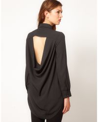 TFNC London Black Drape Open Back Shirt