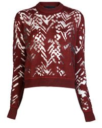 Alexander Wang Red Dissolve Herringbone Sweater