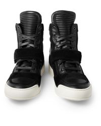 Balmain - Black Leather and Suede High Top Sneakers for Men - Lyst