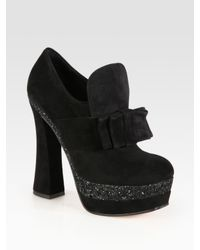 Miu Miu | Black Glitter Coated Suede Bow Platform Booties | Lyst