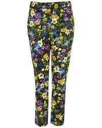 TOPSHOP Black Floral Print Cigarette Trousers