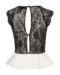 TOPSHOP White Lace Back Peplum Top
