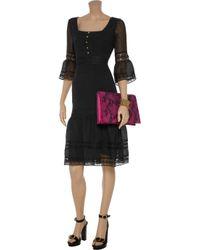 Alice By Temperley Black Esmeralda Pleated Chiffon and Lace Dress