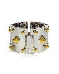 Eddie Borgo - Metallic Silver and Gold Studded Plated Cuff - Lyst