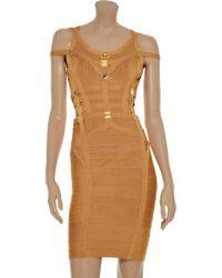 Hervé Léger Brown Offtheshoulder Embellished Bandage Dress