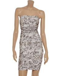 Hervé Léger Gray Rose Print Strapless Bandage Dress