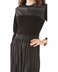 Markus Lupfer - Black Leather Look Pleated Dress - Lyst