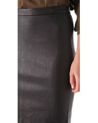 Vince Black Leather Pencil Skirt