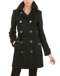 Burberry Brit Black Balmoral Double Wool Twill Coat