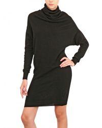 Lanvin Black Draped Wool Cashmere Knit Dress