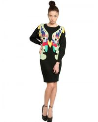 Lin Art Project Black Embroidered Wool Cashmere Knit Dress