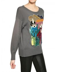 Lin Art Project Gray Embroidered Wool Cashmere Knit Sweater