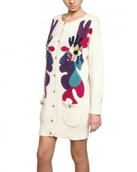 Lin Art Project White Embroidered Wool Cashmere Cardigan