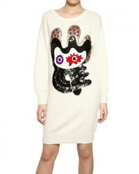 Lin Art Project Natural Embroidered Wool Cashmere Knit Dress
