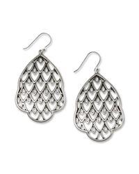 Lucky Brand - Metallic Silver Tone Openwork Drop Earrings - Lyst