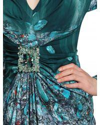 Luisa Beccaria Green Printed Jewel Stretch Satin Dress