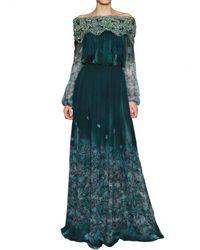 Luisa Beccaria Green Swarovski On Printed Silk Chiffon Dress