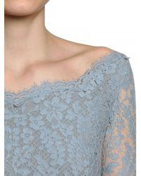 Luisa Beccaria Blue Flower Lace with Chiffon Plissé Dress