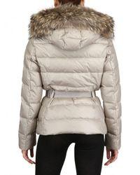 Moncler Natural Angers Fur Hood Belted Matt Nylon Jacket