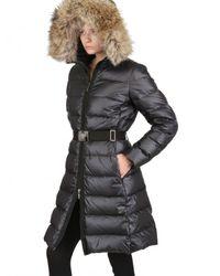 Moncler Black Nantes Fur Hood Belted Matt Nylon Jacket