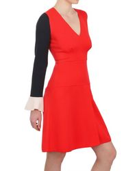 ROKSANDA Red Ruffled Cuffs Double Wool Crepe Dress