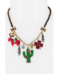 Betsey Johnson | Goldtone Multicolor Crystal Pendant Necklace | Lyst