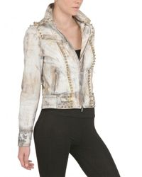 Kin and Gin White Studded and Printed Soft Leather Jacket