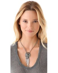 Low Luv by Erin Wasson - Metallic Oval Cage Metal Tube Fringe Necklace - Lyst