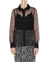 Saint Laurent Black Polka-dot Flocked Tulle Shirt