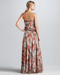 Haute Hippie Brown Strapless Floralprint Maxi Dress