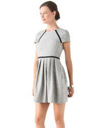 Tibi Gray Herringbone Tweed Dress