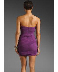 BCBGMAXAZRIA | Purple Strapless Ruffle Mini | Lyst